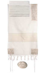 Jerusalem Silver Hand Embroidered Tallit By Yair Emanuel