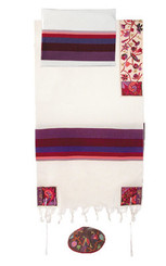 Color Hand Embroidered Tallit By Yair Emanuel