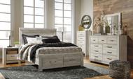 Bellaby Whitewash 6 Pc. Dresser, Mirror & Queen Panel Storage Bed