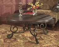 Rafferty Round Cocktail Table: Dark Brown