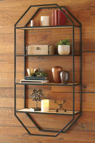 Elea Black/Natural Wall Shelf