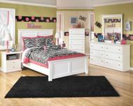 Bostwick Shoals White Dresser, Mirror, Chest, Full Panel Bed & 2 Nightstands