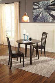 Hammis Round Dining Room Drop Leaf Table: Dark Brown