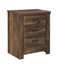 Quinden Two Drawer Night Stand: Dark Brown