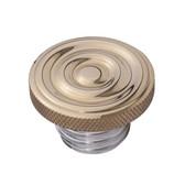 Custom Gas Cap - Brass Rippled Top - Aluminum Thread - Vented
