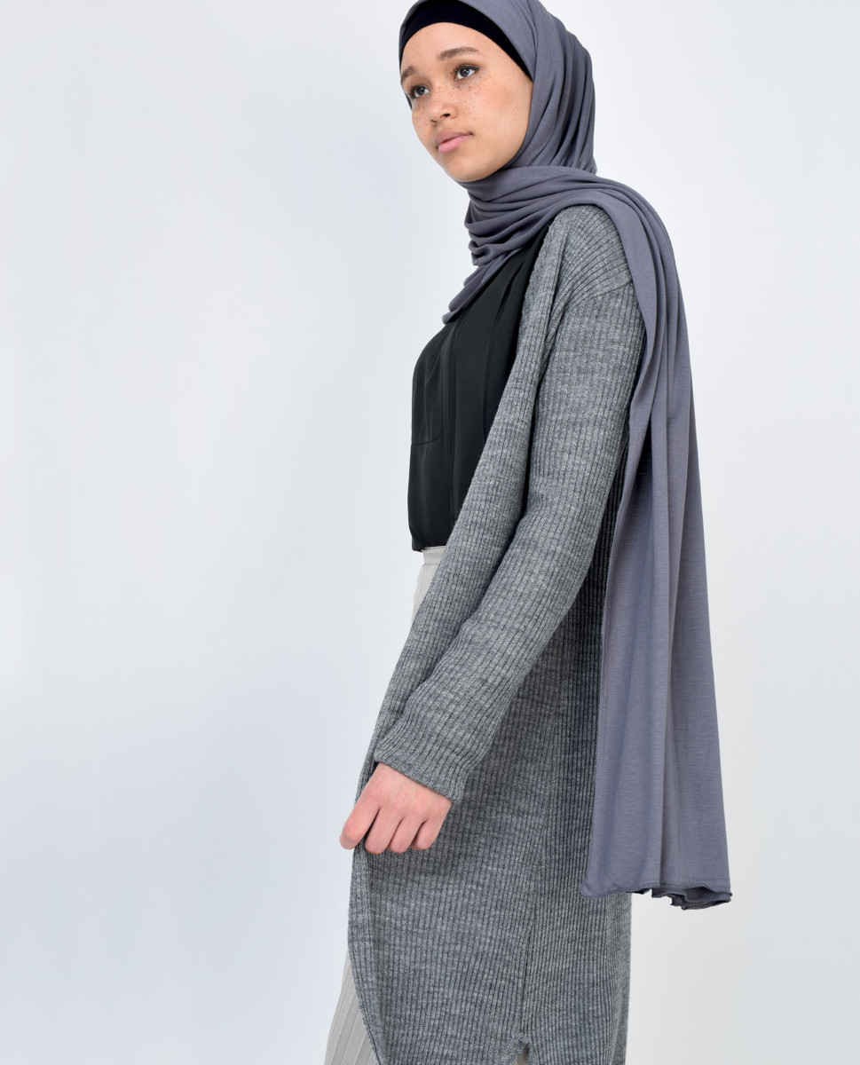 Grey Marl Maxi Cardigan - India | Islamic Design House