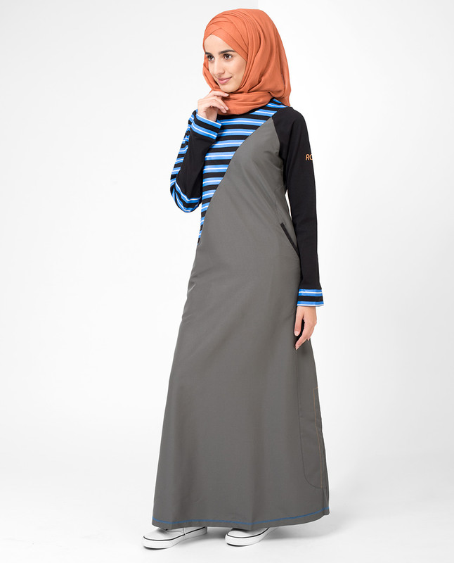 Grey In Stripe Jilbab
