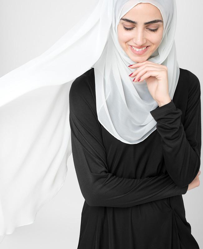 Glacier Grey Pinless PolyChiffon Hijab