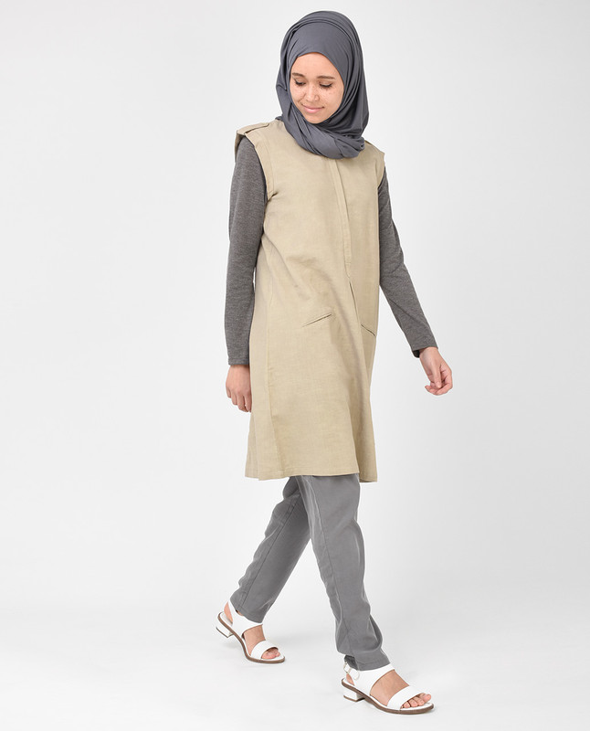 Beige and Brown Long Tunic