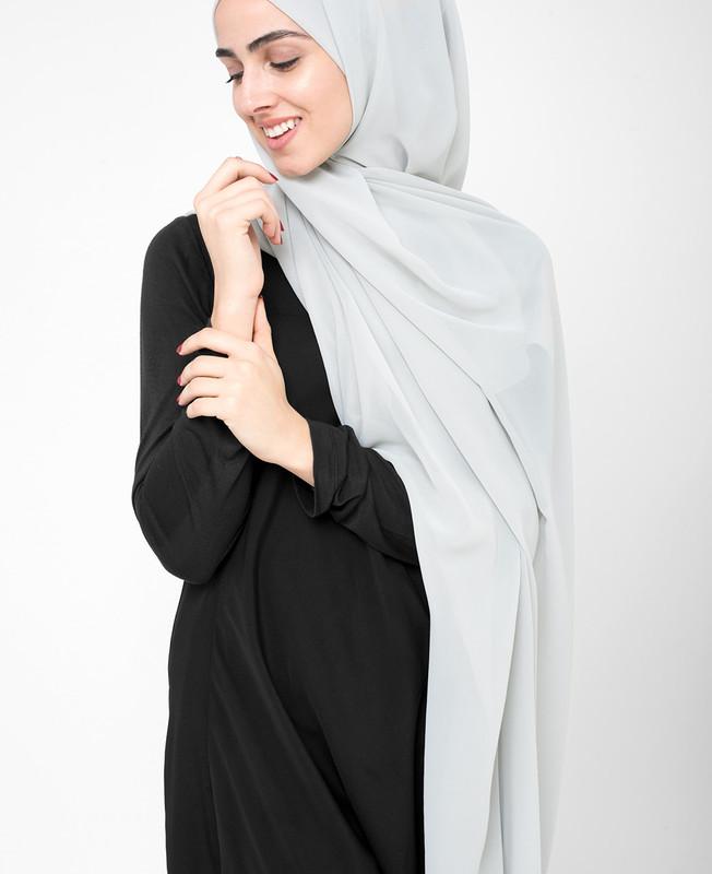 Glacier Grey Poly Georgette Hijab