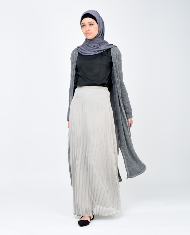 Light Grey Pleated Skirt