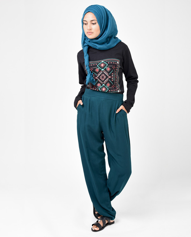 Teal Green Rayon Loose Fit Trousers