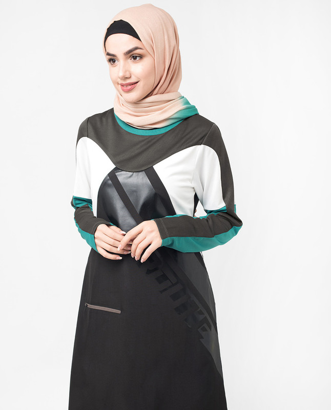 Sports Performance Black and Grey Jilbab