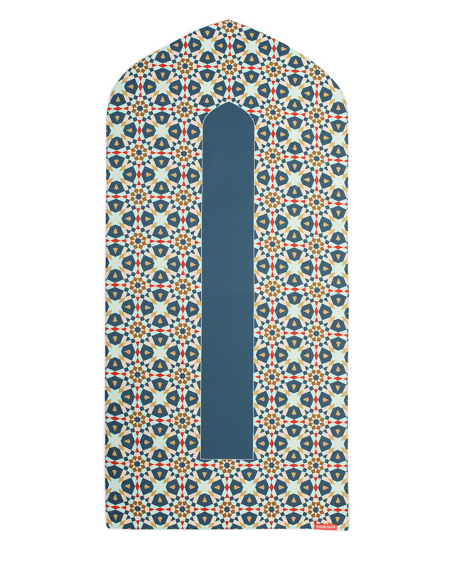 Geometric arch-shaped prayer mat rug