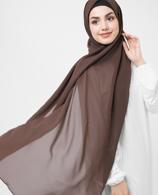 Deep Taupe Beige PolyChiffon Hijab