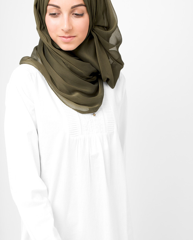 Dark Olive PolyChiffon Hijab