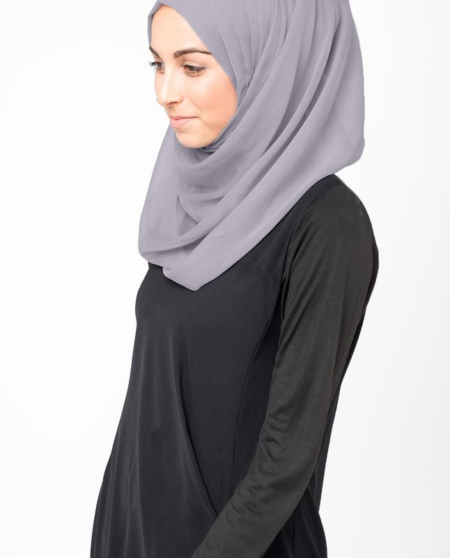 Minimal Grey PolyChiffon Hijab