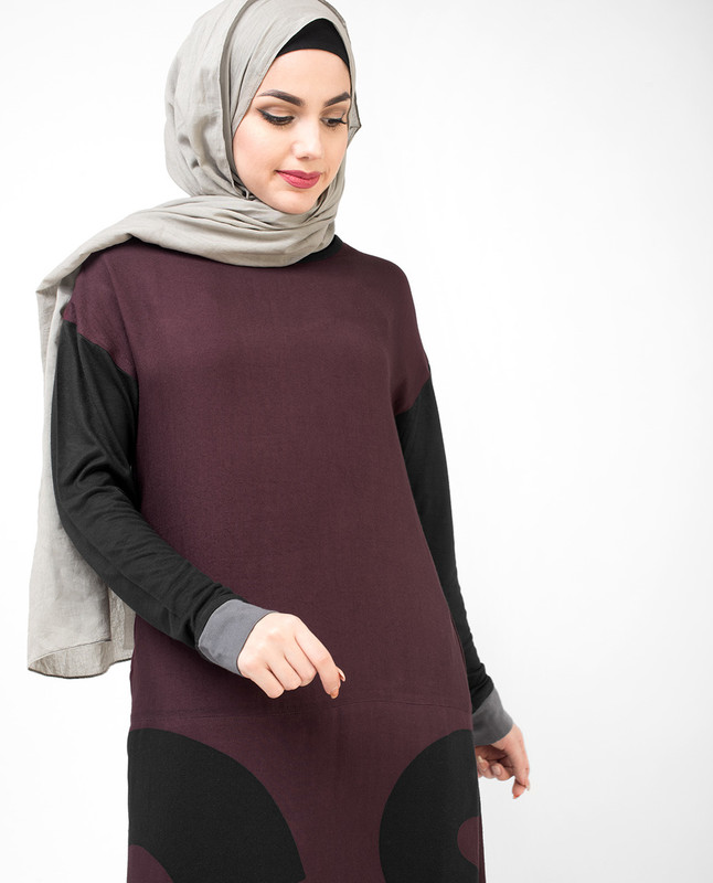 Purple Curved Hem Jilbab
