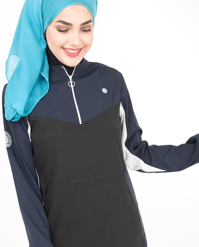 Black zipper abaya jilbab