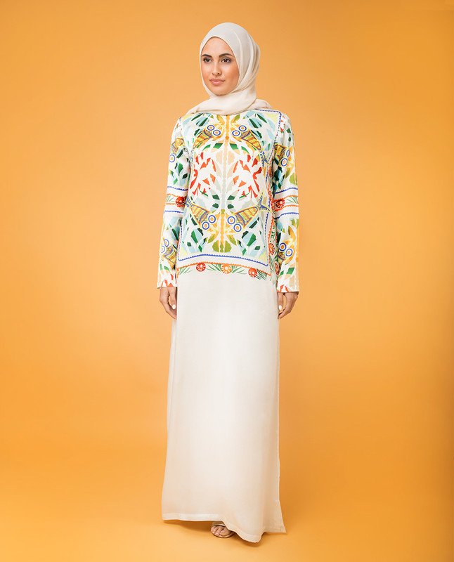 Modest Silk Print CNG Dress