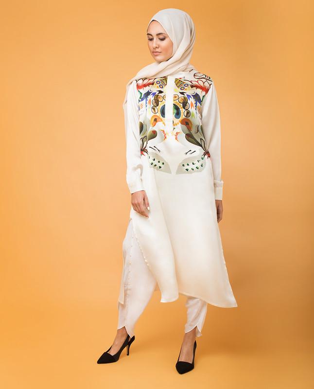 Modest Silk Print Tunic