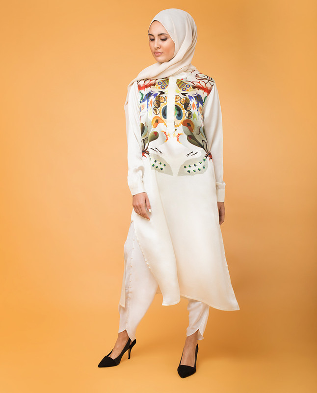 Modest Silk Print Tunic