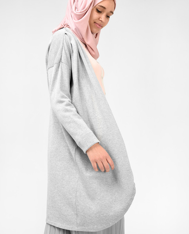 Grey Pleated Shoulder Detail Long Cover Up