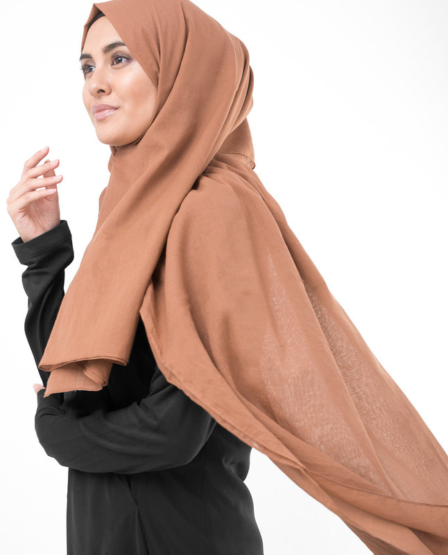 Hazel Brown Cotton Voile Scarf
