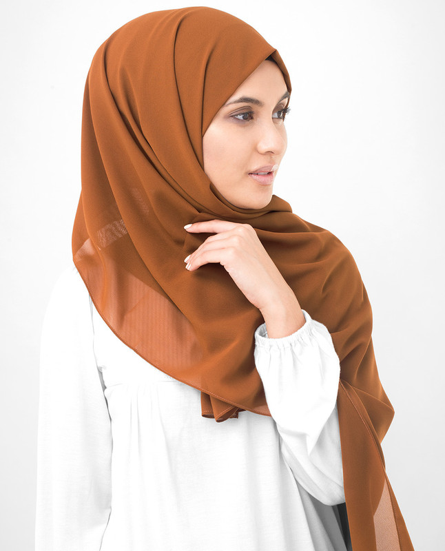Glazed Ginger Brown Poly Georgette Scarf