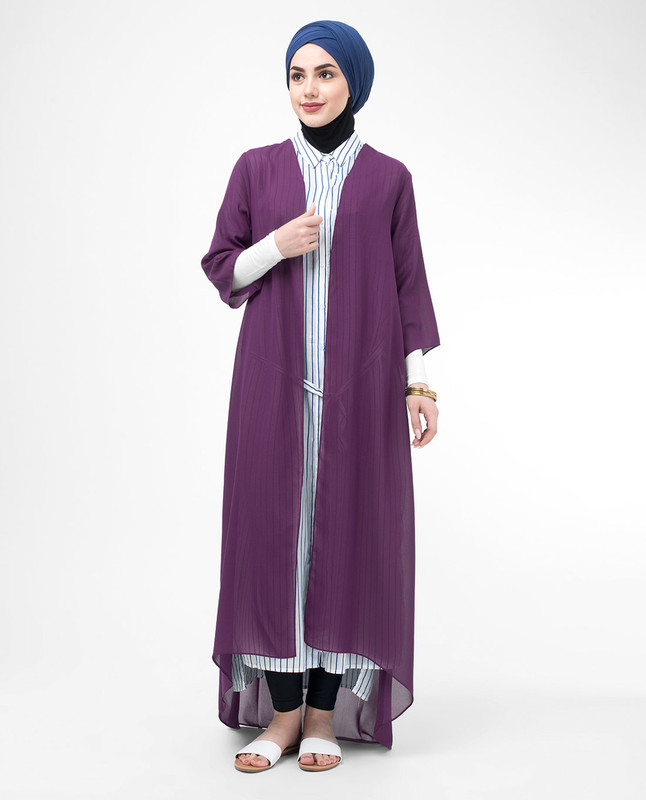 Long Sheer Plum Purple Kimono