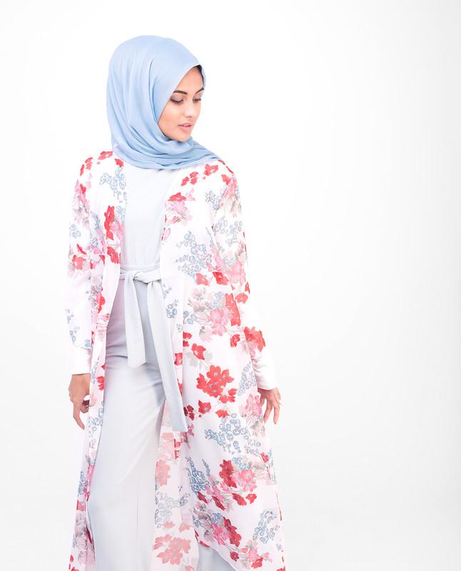 Long White Floral Kimono