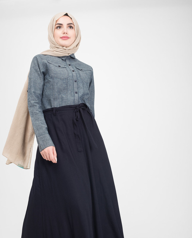 Utility Denim Flared Jilbab