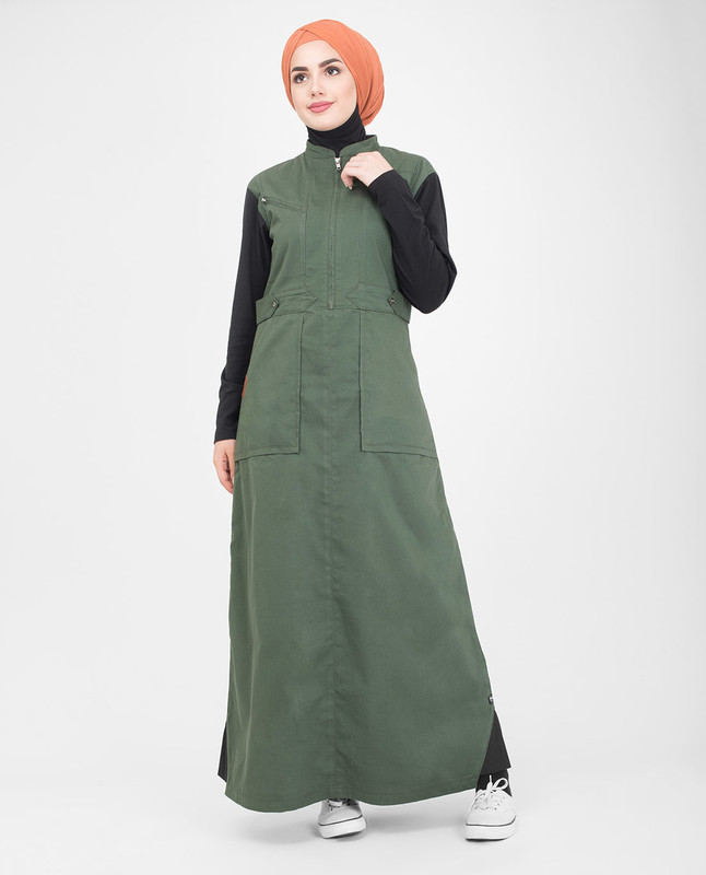 Black and green jilbab abaya