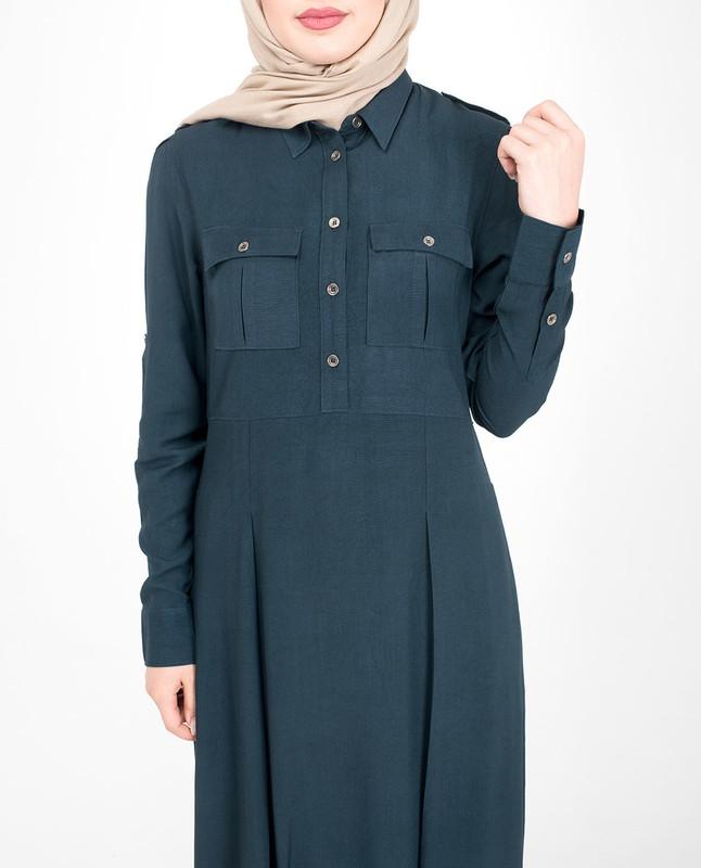 Buttoned flared blue abaya jilbab