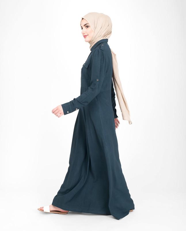 Blue elegant flared abaya jilbab