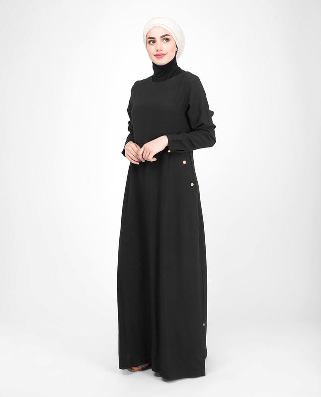 Black round neck jilbab abaya