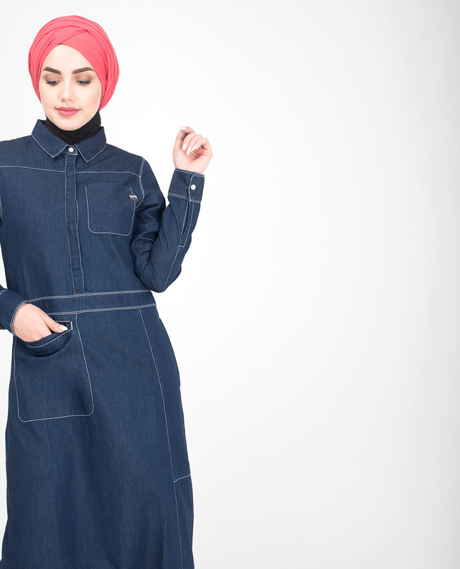 Collar blue denim abaya jilbab