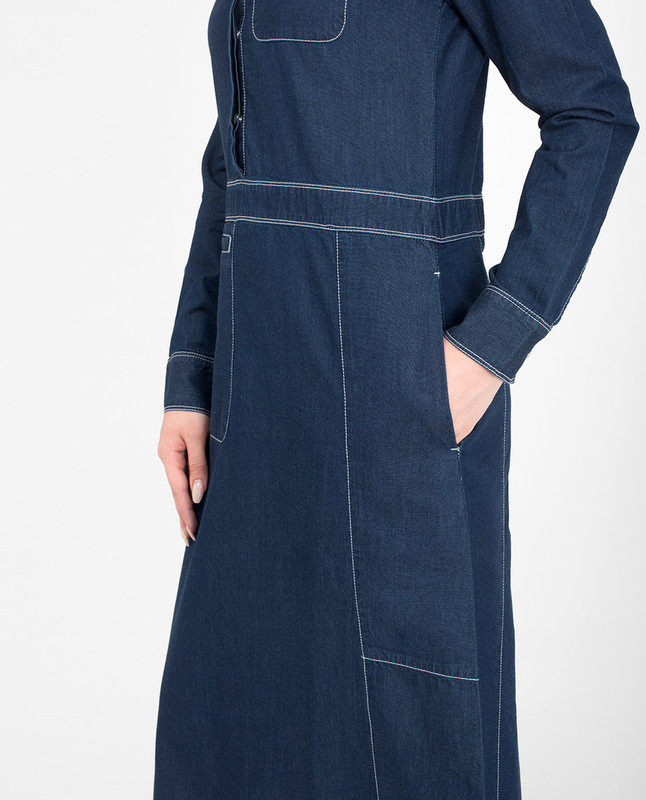 Side pockets blue denim jilbab abaya