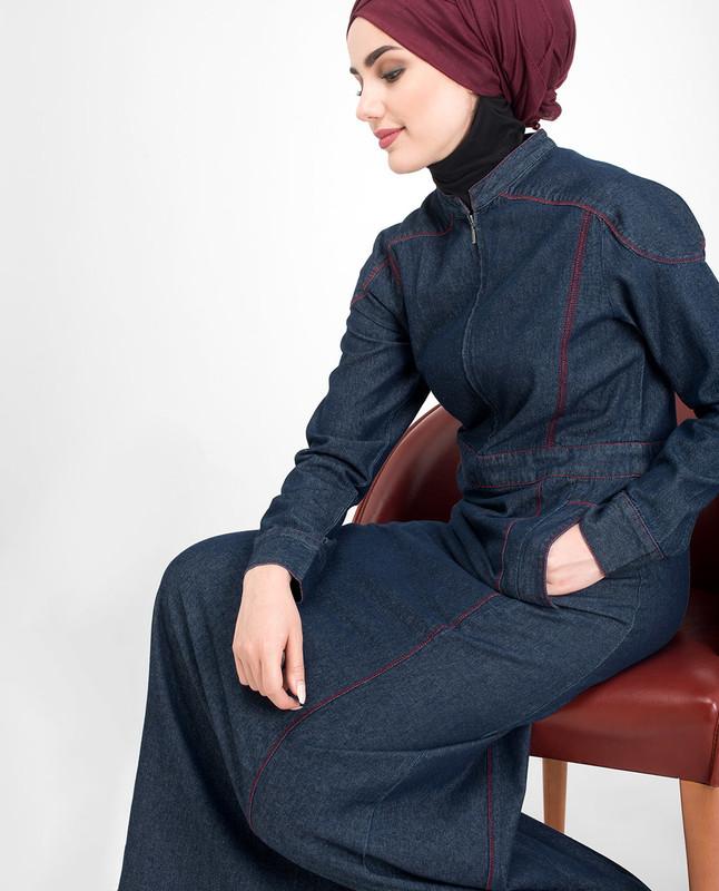 Long zip denim jilbab abaya