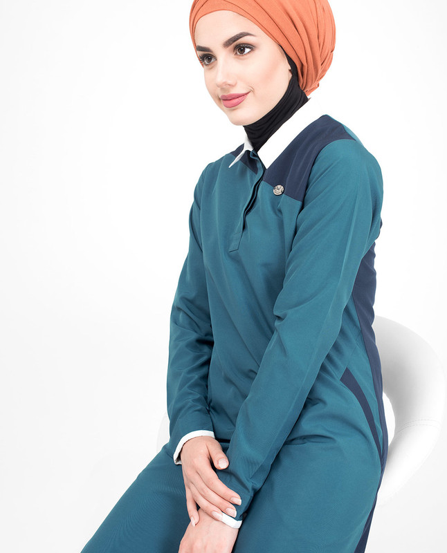 Asymmetric Colour Block Jilbab