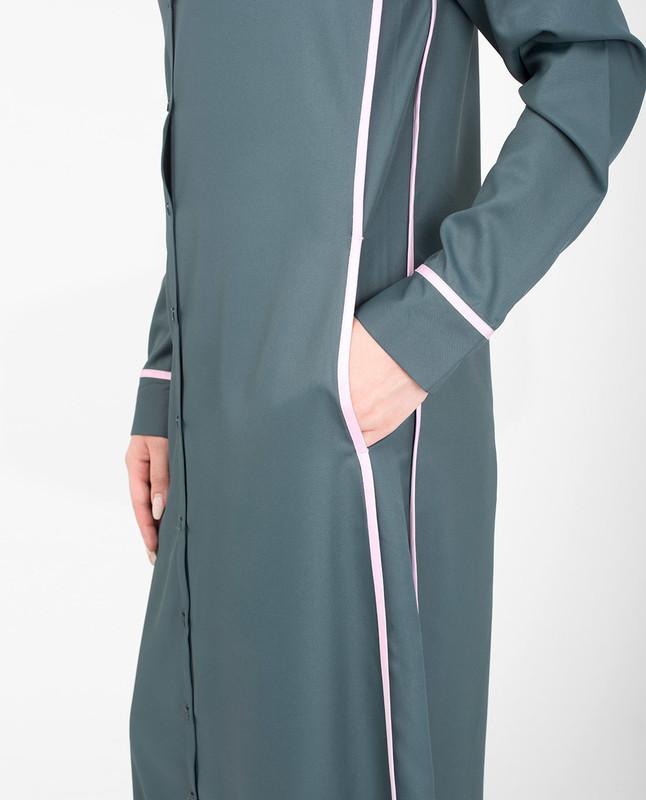 Collar grey abaya jilbab