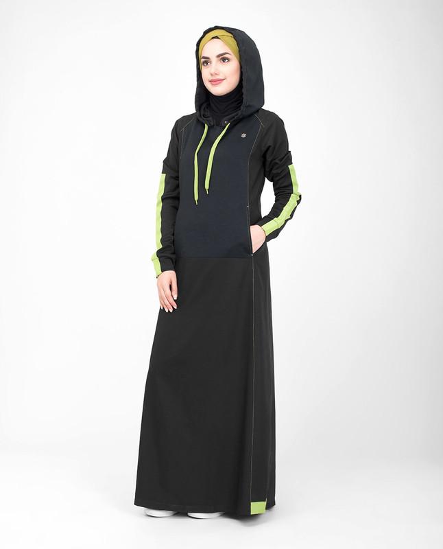 Side pockets black hooded jilbab
