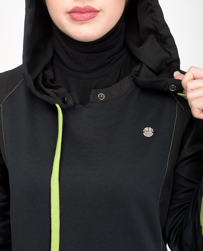 Black sporty hooded jilbab abaya