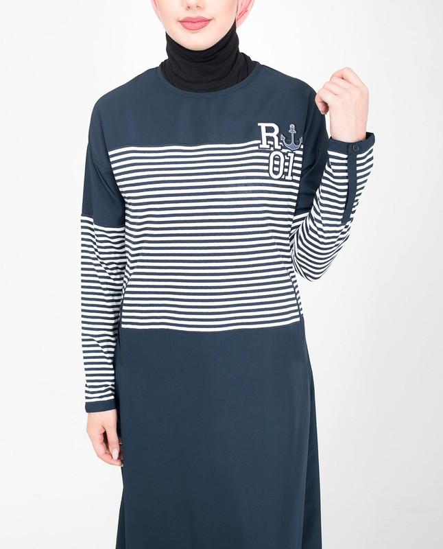 Blue polyester jilbab abaya