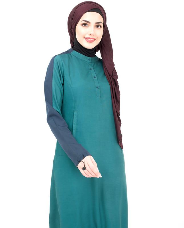 Green & Navy Casual Jilbab