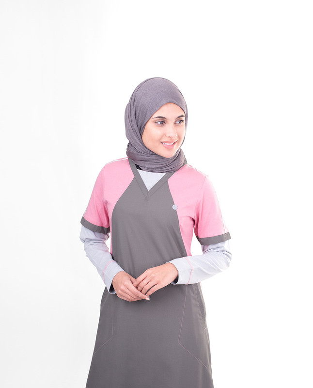 Grey & Pink London Skyline Print Jilbab