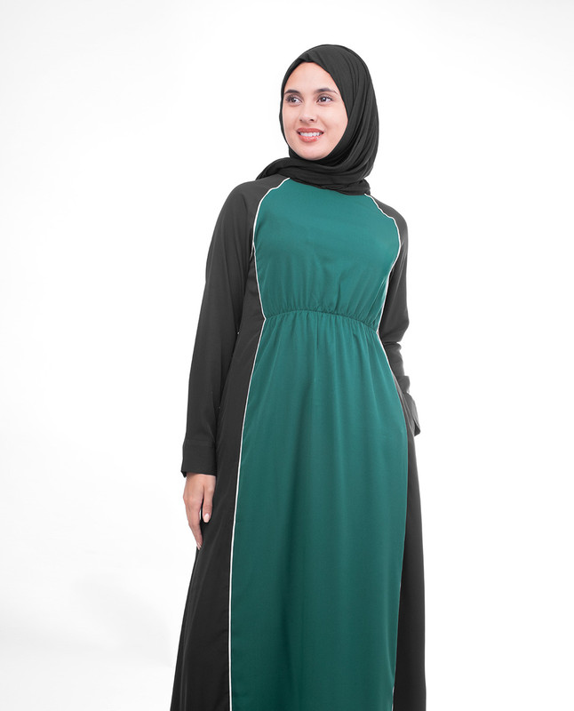 Green And Black Crepe Sister Jilbab