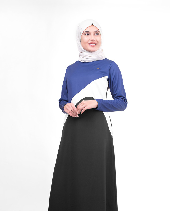 Asymmetric Blue Colour Blocking Jilbab