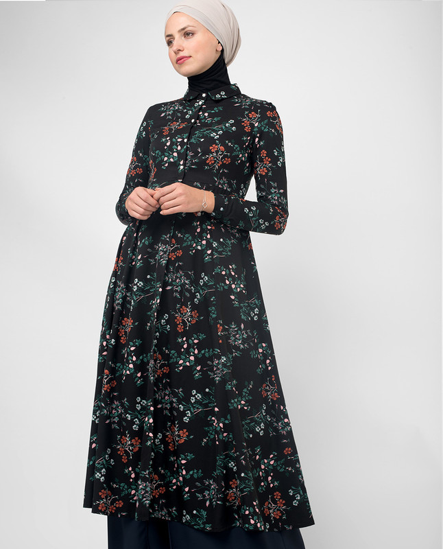 Flared Black Floral Modest Shirt Dress
