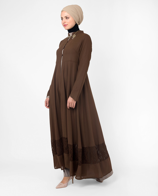 Full Length Brown Elegant Lace Outerwear